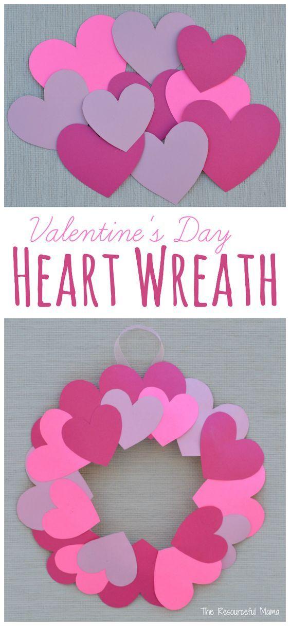 Paper Plate Valentine\u0027s Day Heart Wreath Craft  sc 1 st  Pinterest & Paper Plate Valentine\u0027s Day Heart Wreath Craft   Wreaths crafts ...