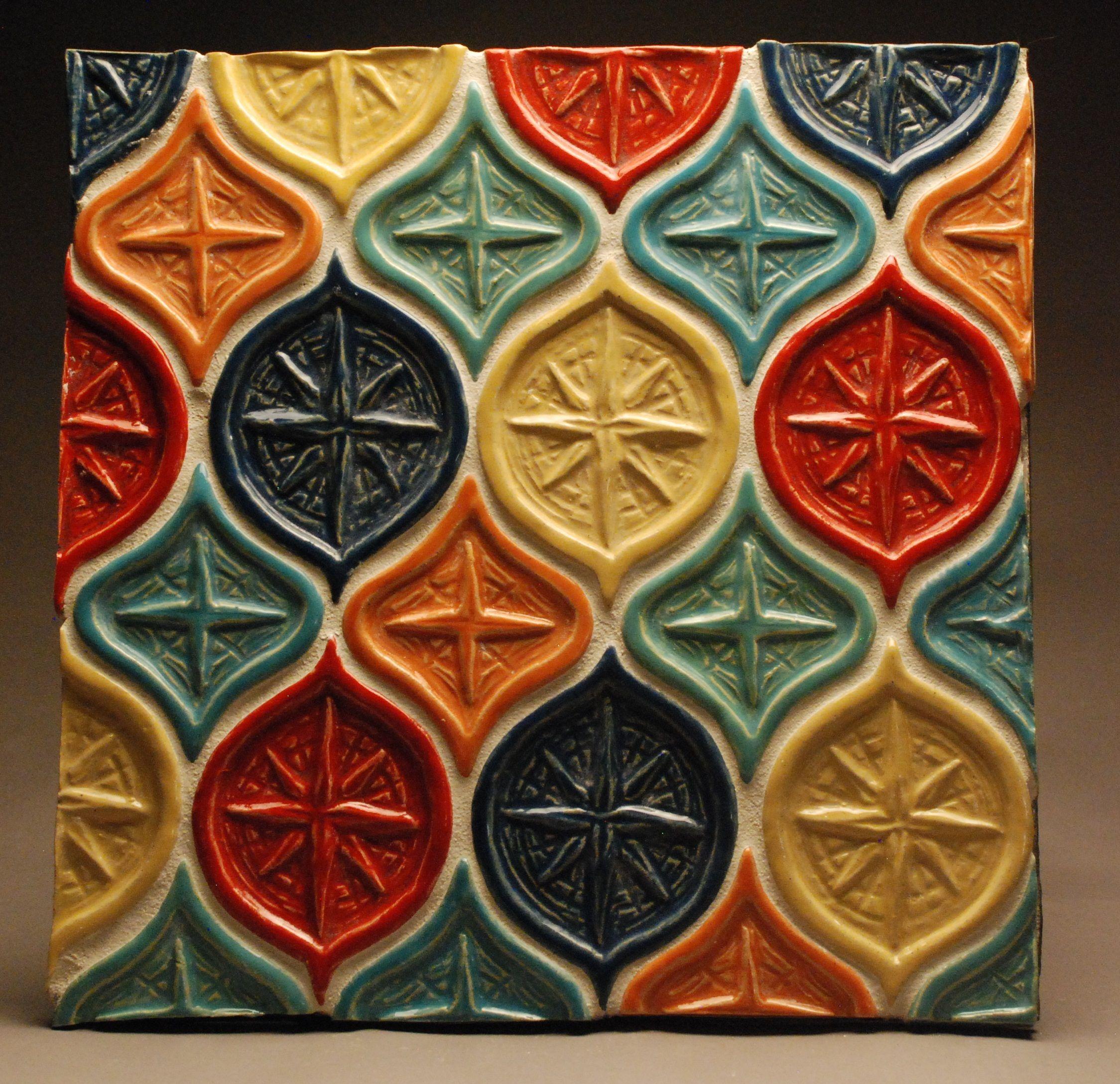 Handmade Starburst ceramic tile backsplash from Drumboden