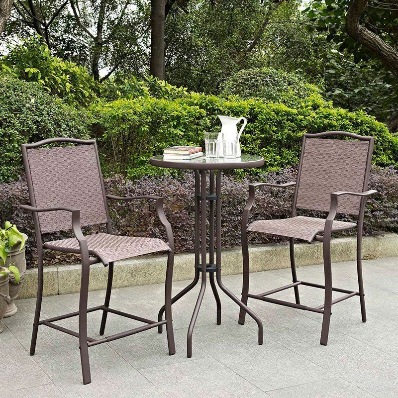 Outdoor 3 Piece Bar Height Patio Bistro Set With Steel Frame/Bronze Finish