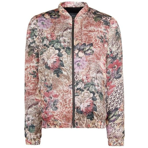 MANGO Tapestry bomber jacket (2.850 RUB) ❤ liked on Polyvore featuring outerwear, jackets, red, bomber jackets, quilted jacket, flight jacket, quilted bomber jackets and mango jackets