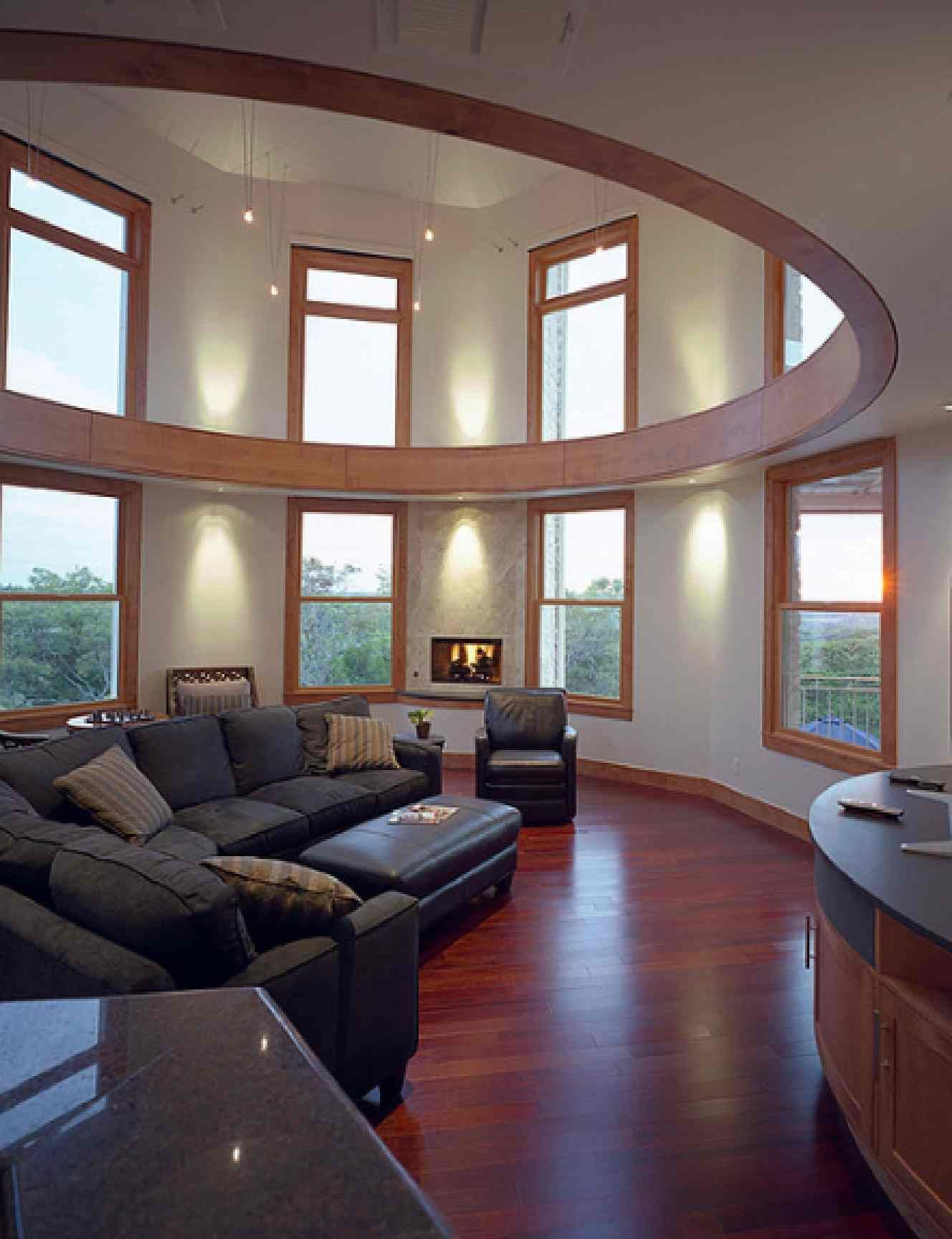 Modern living room with circular ceiling