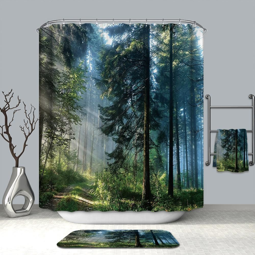 Fantasy Green Landscape Misty Forest Shower Curtain Bathroom Decor