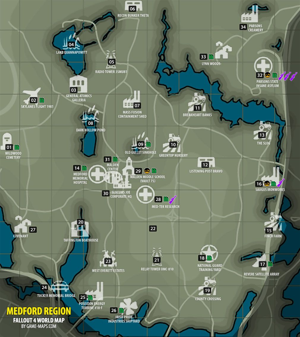 Fallout 4 Medford Region Map Fallout 4 With Images Fallout