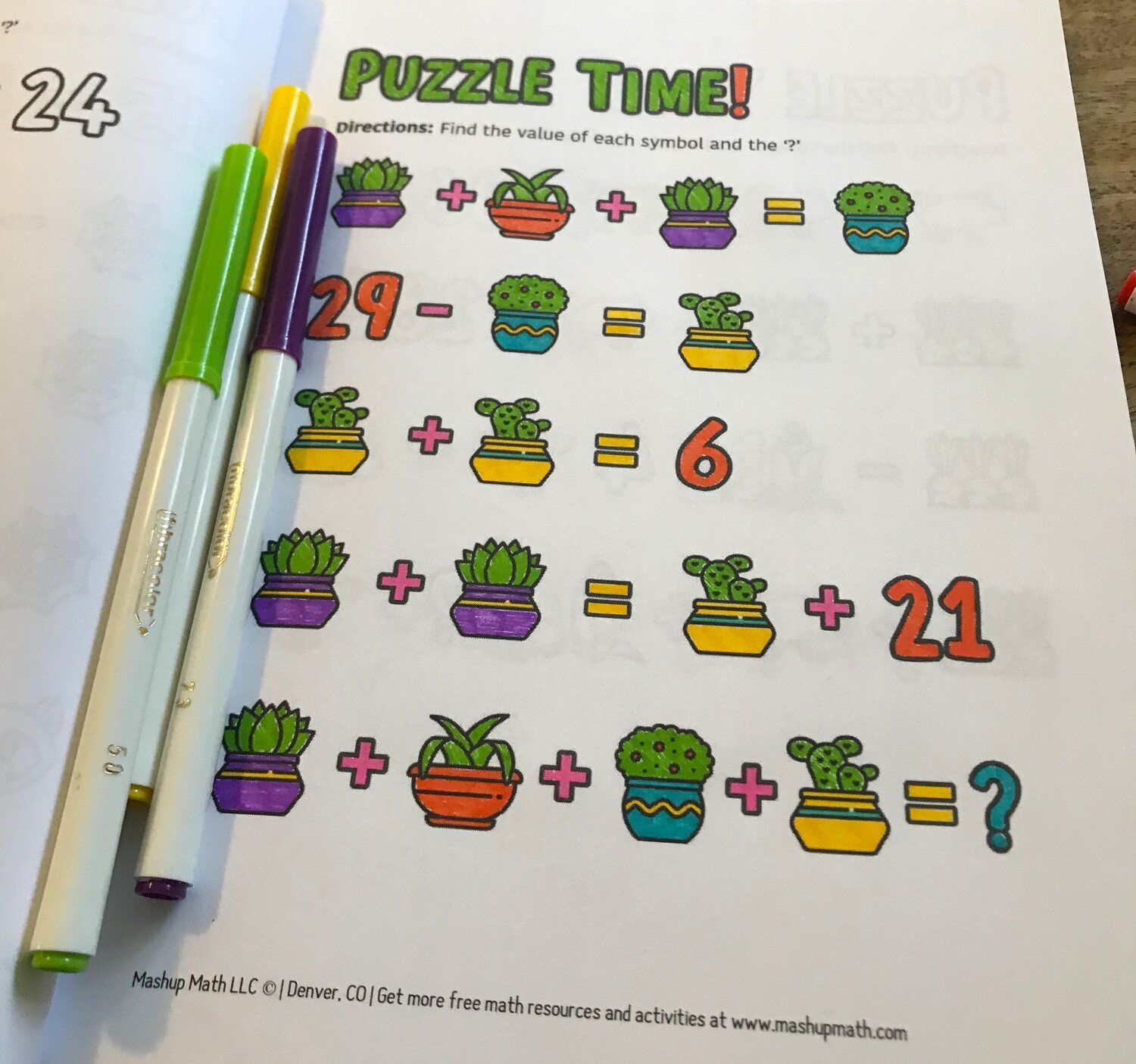 101 Math Coloring Worksheets Coloring Book For Grades 3 8
