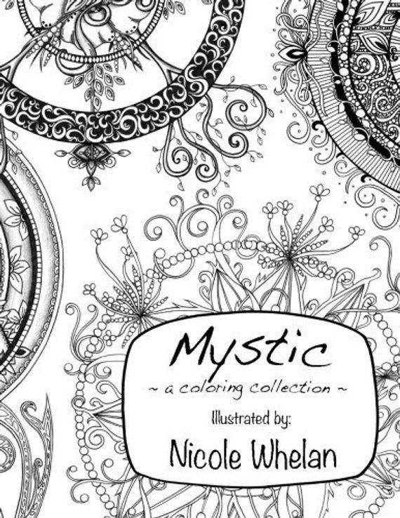 Mystic Coloring Book Original Art Moon Phases Crescents