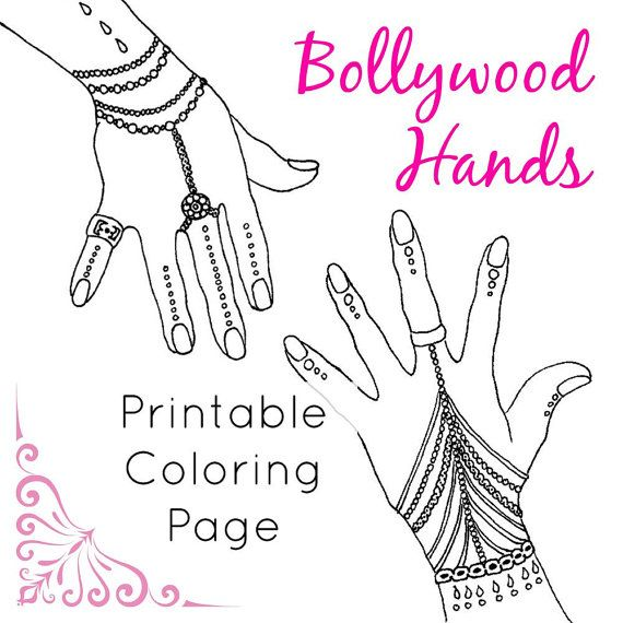 Printable Coloring Page Bollywood Hands