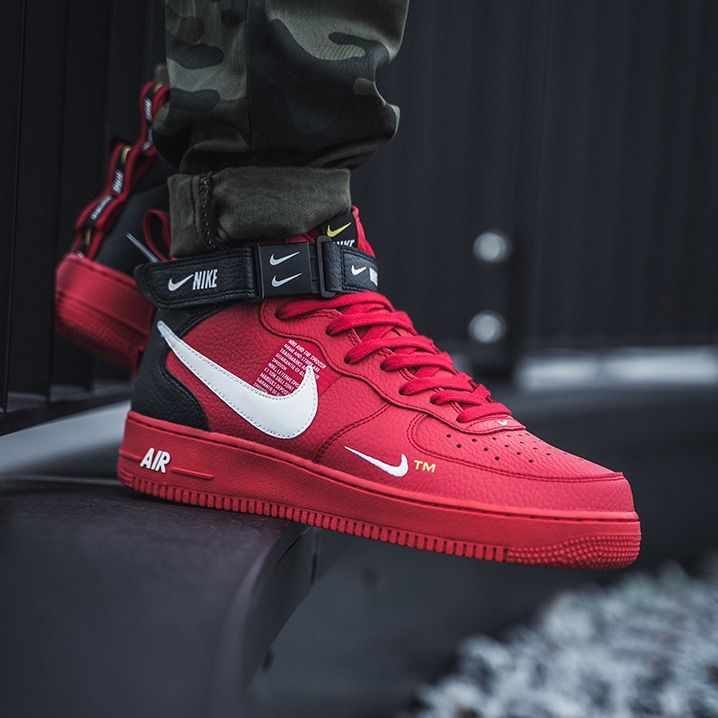 Nike Air Force 1 Mid 07 Lv8 Red Black Chaussure Mode Chaussures Pour Hommes Chaussures Nike