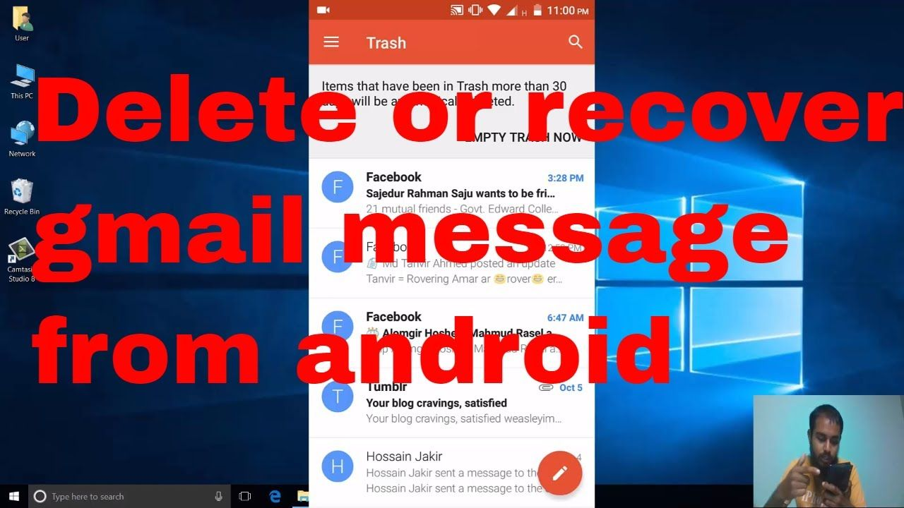 Delete multiple gmail message or recover it and