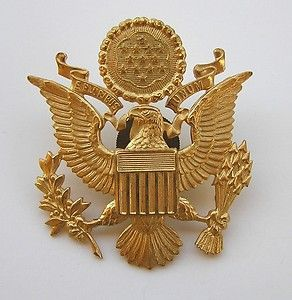635416be WWII US Army Officer Cap Hat Badge Insignia Pin Eagle Screw-back ...