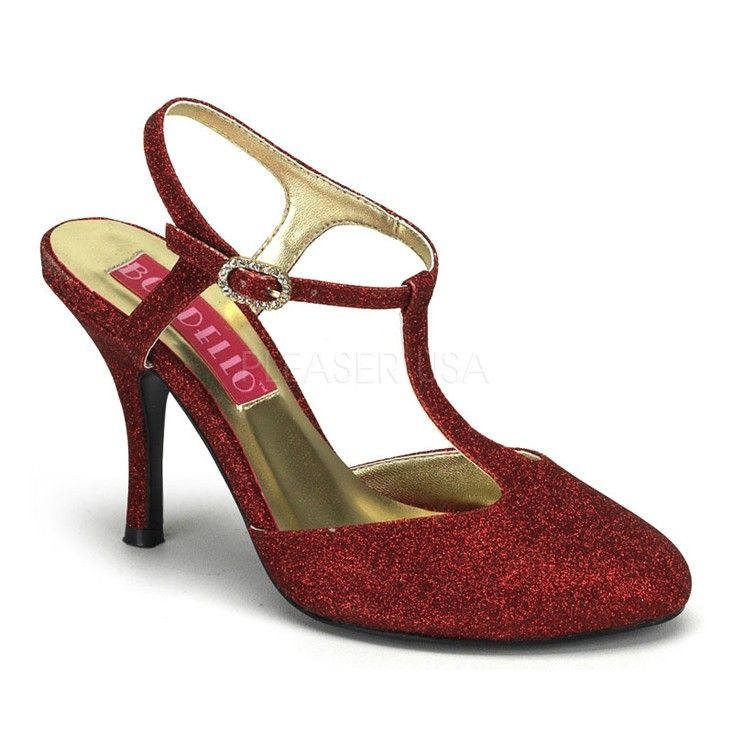 These sexy Holiday heels feature a metallic glitter upper with side buckle, t-strap design, almond closed toe, scoop vamp and complete with an approximately 3.5 inch heel and flat sole.