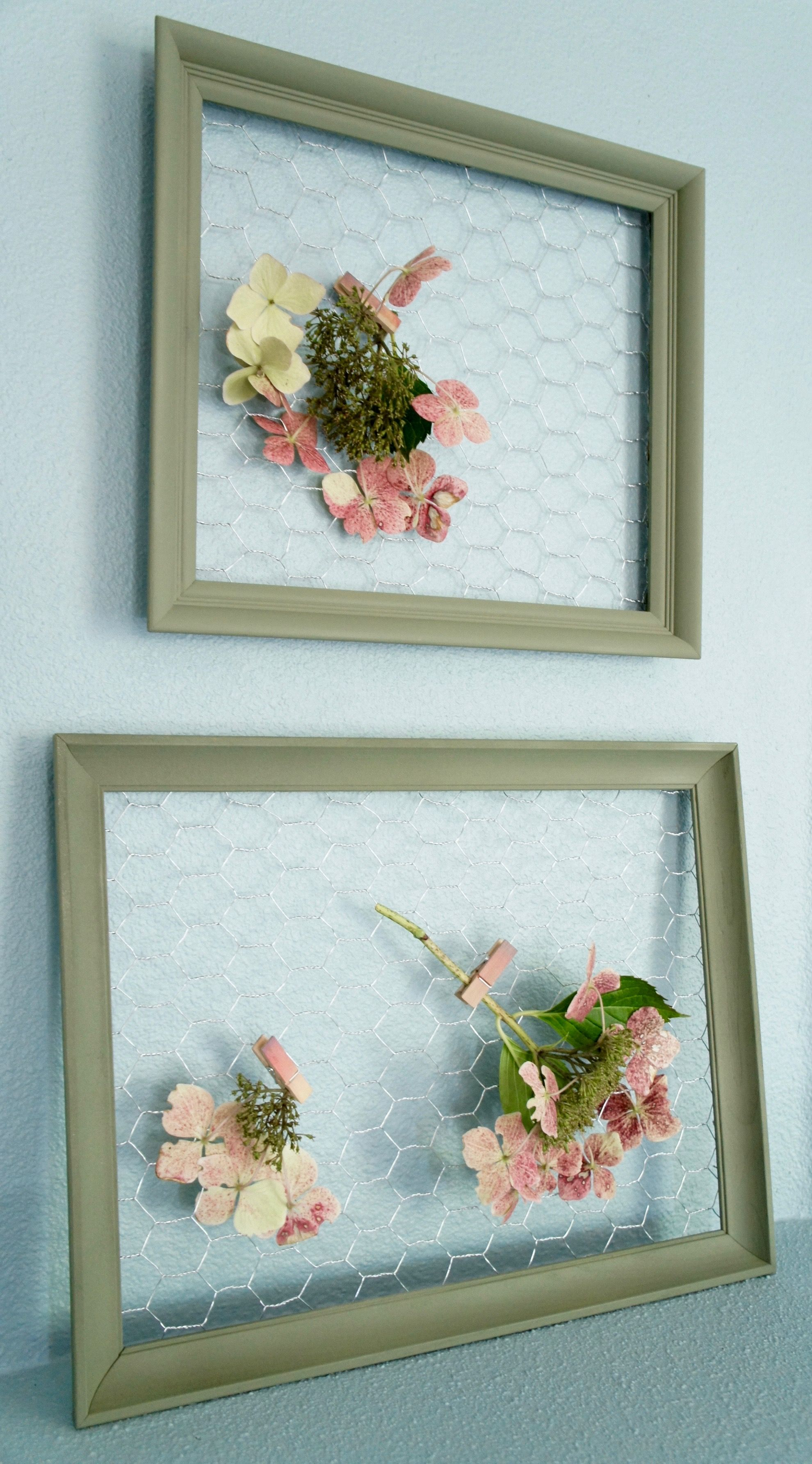 Pair of Olive Green Vintage Frames with Chicken Wire: greenery ...