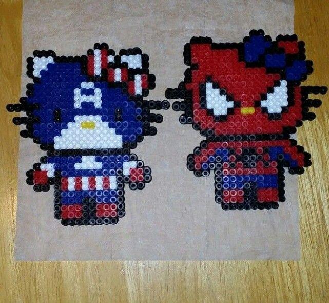 Hama/perler beads- superhero hello kitties