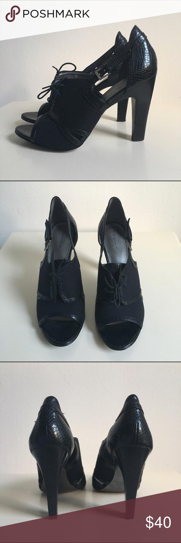 Black laced peep toe heels Super cute heels for any season. Tahari Shoes Heels