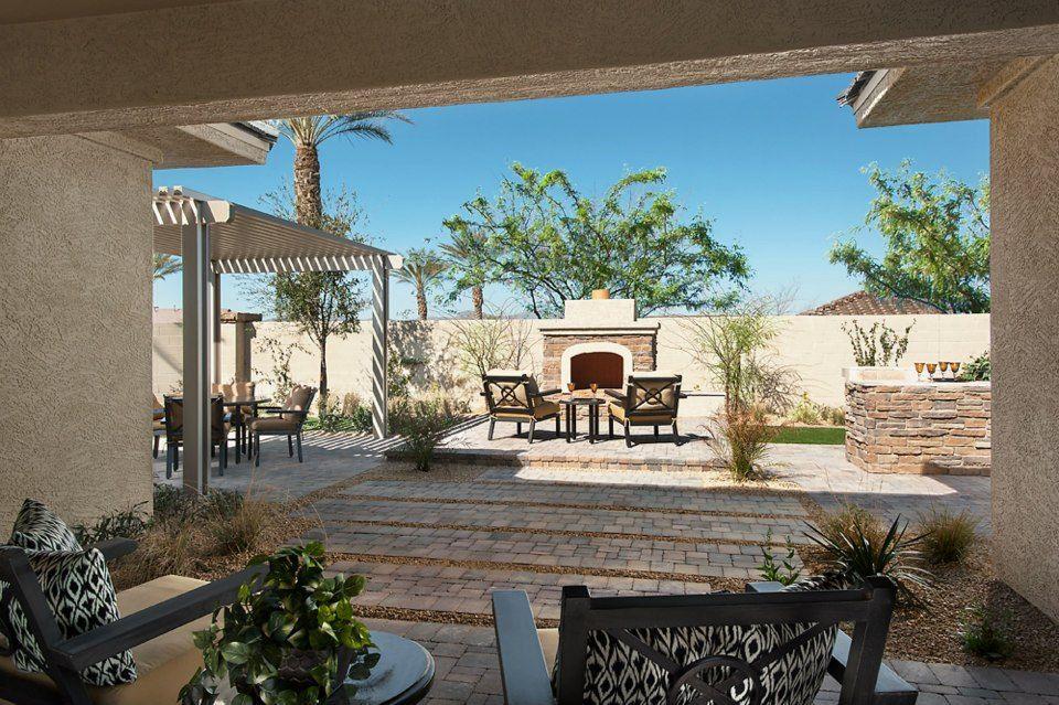 Backyard fireplace and sitting area   Backyard fireplace ... on Outdoor Living Sale id=69989