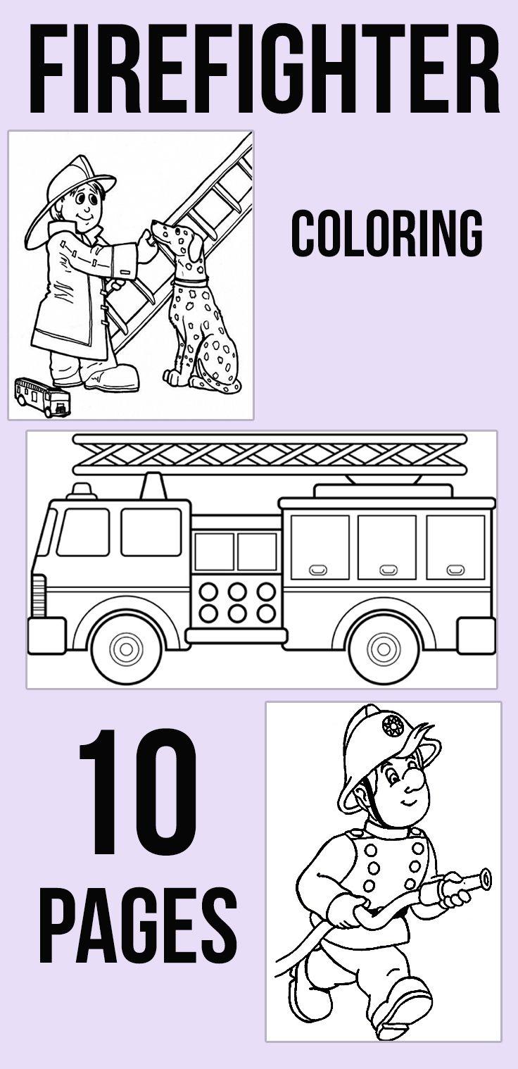 Preschool Fire Truck Coloring Page : preschool, truck, coloring, Firefighter, Coloring, Pages, Printables, MomJunction, Safety, Preschool, Crafts,, Preschool,, Firetruck, Birthday