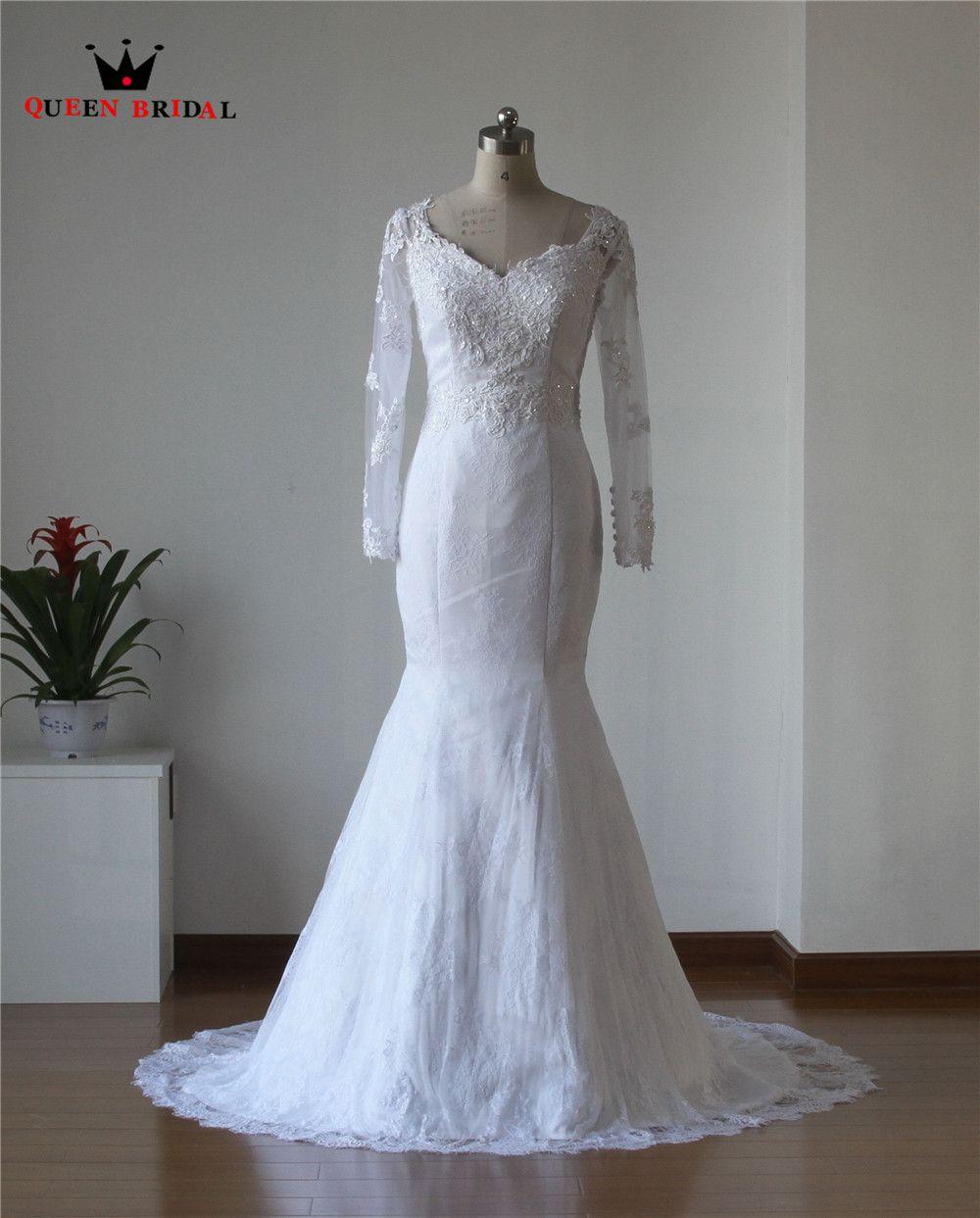 >> Click to Buy << Custom Made 2017 New Design Sheath V-neck Long Sleeve Chiffon Lace Sexy Bride Wedding Dresses vestido de noiva sereia SH33 #Affiliate