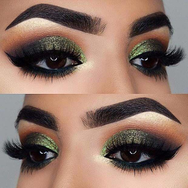 Green Glittery Eye Makeup Look For Brown Eyes Makeupstyles