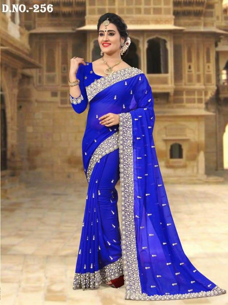 bfe792a9ab6 Latest Indian Women s Party Wear Royal Blue color Heavy Pearl Embroidered  Border Saree with Blouse