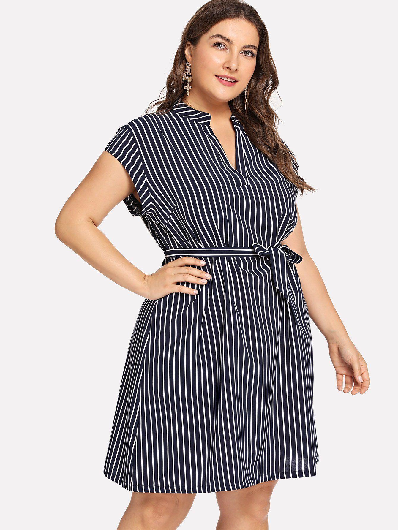 9a91f5a058 plus v neck striped dress.  fashion  plus size  plus size dresses ...