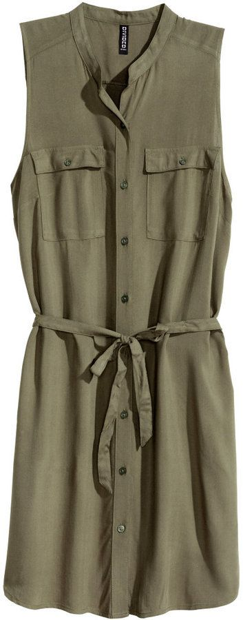5f1c287d2651 H&M - H&M - Sleeveless Shirt Dress - Khaki green - Ladies, women, fashion,  clothing, style, clothes, spring, summer