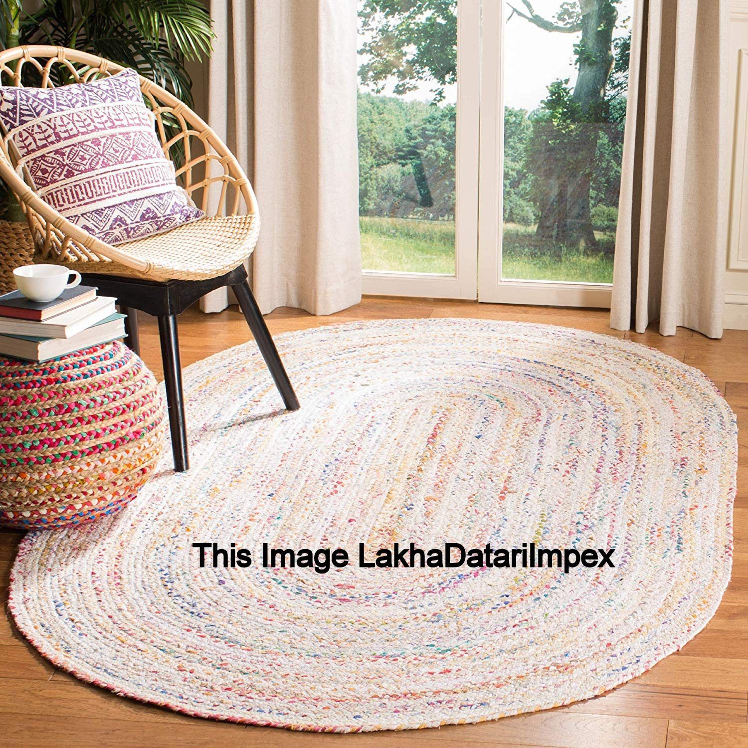 Ovel Shape Jute Floor Rugs Yoga Mat Indian Traditional Hand Stitched Hand-Woven Bohemian Vintage Rugs Carpet Mat Meditation Comfortable Rugs