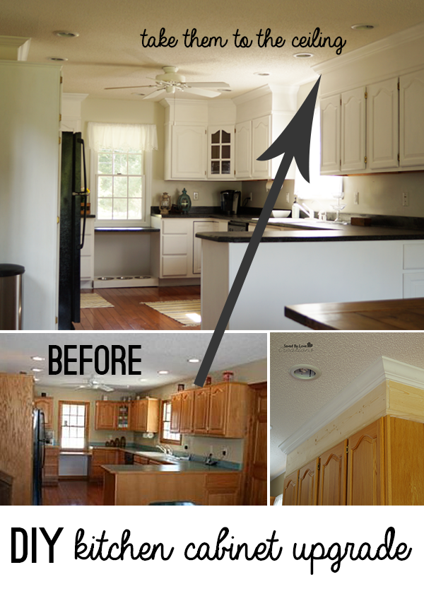 Upgrade cabinet makeover with diy crown moulding and for Kitchen cabinets upgrade