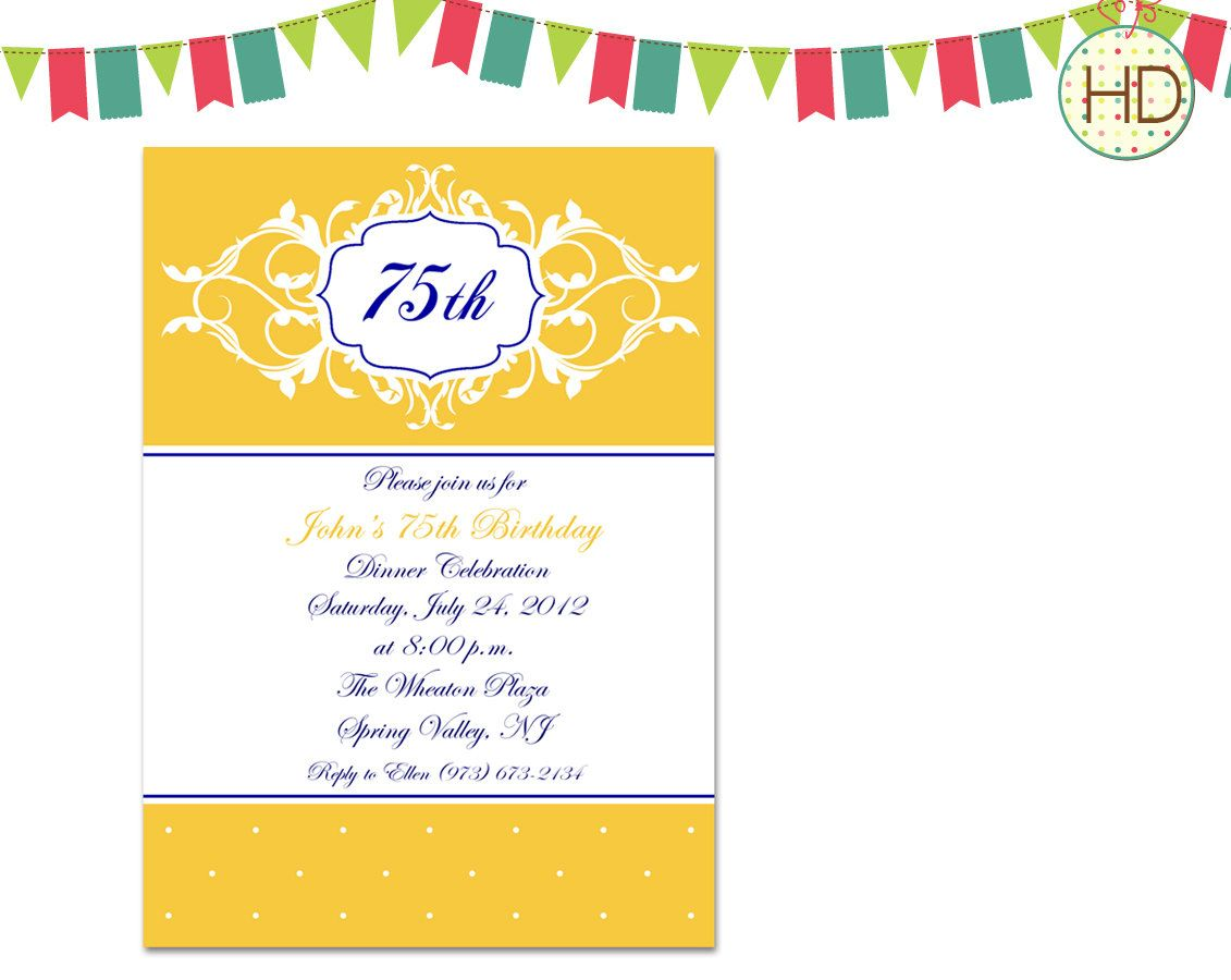 Nice The 75th Birthday Invitations Free Ideas