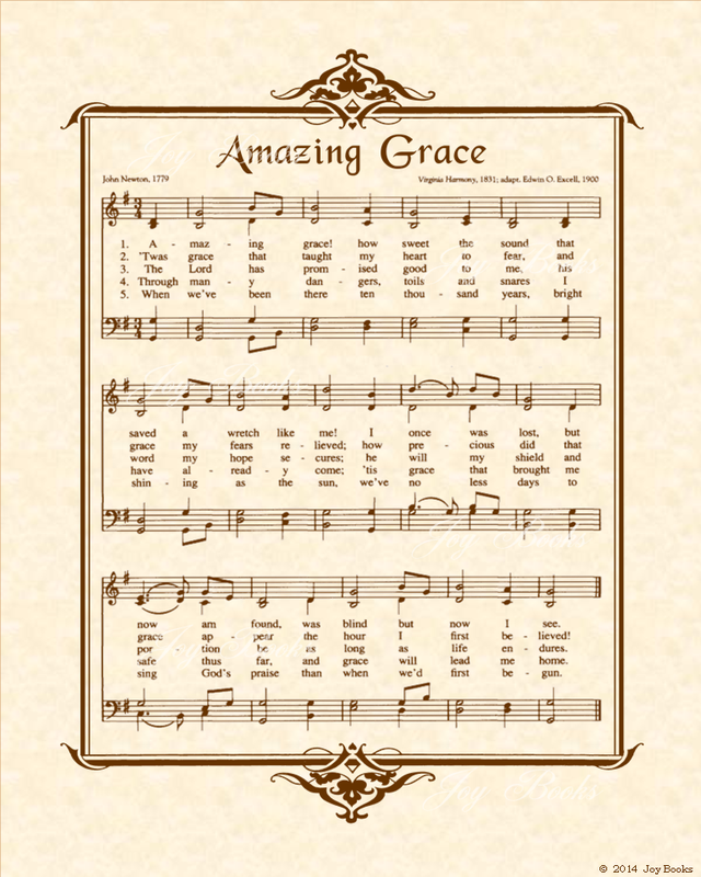 Amazing Grace Free Piano Sheet Music With Lyrics: Christian Heritage Hymn, Sheet Music