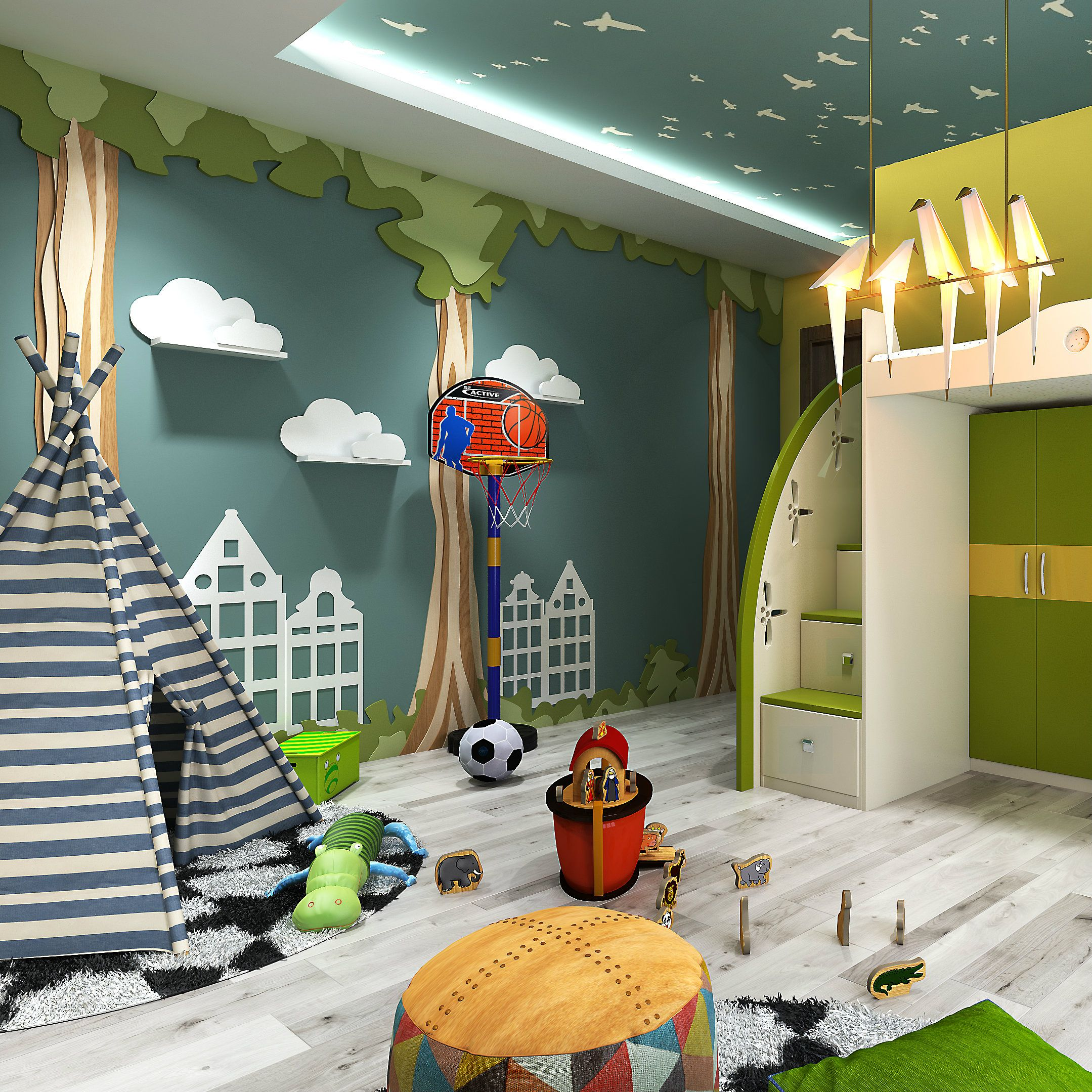 Creative Bedrooms That Any Teenager Will Love: A Camping Inspired Kids Room That Kids Will Love