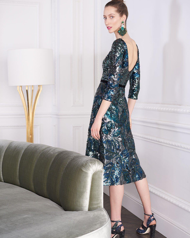 a84ae4d860 Marchesa Notte Sequin Tea-Length Cocktail Dress w/ Velvet Trim | Neiman  Marcus