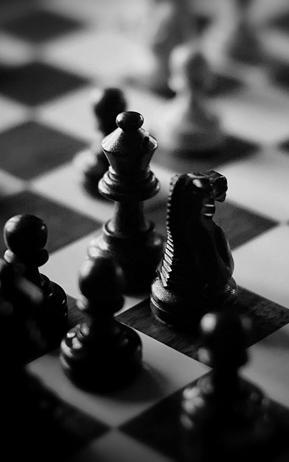 Black And White Chess Board Pieces Iphone 6 Plus Hd Wallpaper