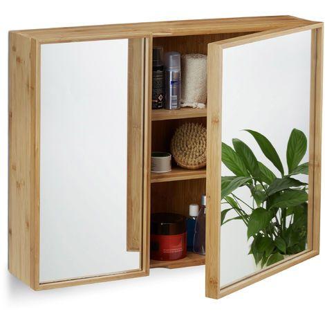 Bad Spiegelschrank 2türig, Wandschrank aus Bambus