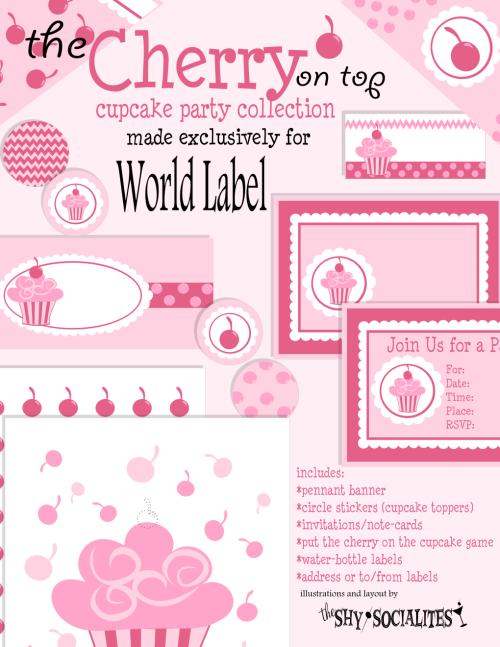"""un joli motif de cupcakes et cerises pour des étiquettes, des embellissements... un kit complet tout en rose, pour une fête ou pour tous les jours... """"petit plus"""" : les petits motifs, prévus pour de petites étiquettes rondes, se font papiers, imprimés sur une feuille de bristol ou de cardstock..."""