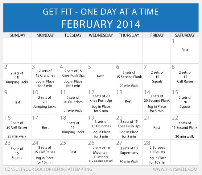 Exercise Workout Plan: Daily Beginner Workout Plan For February