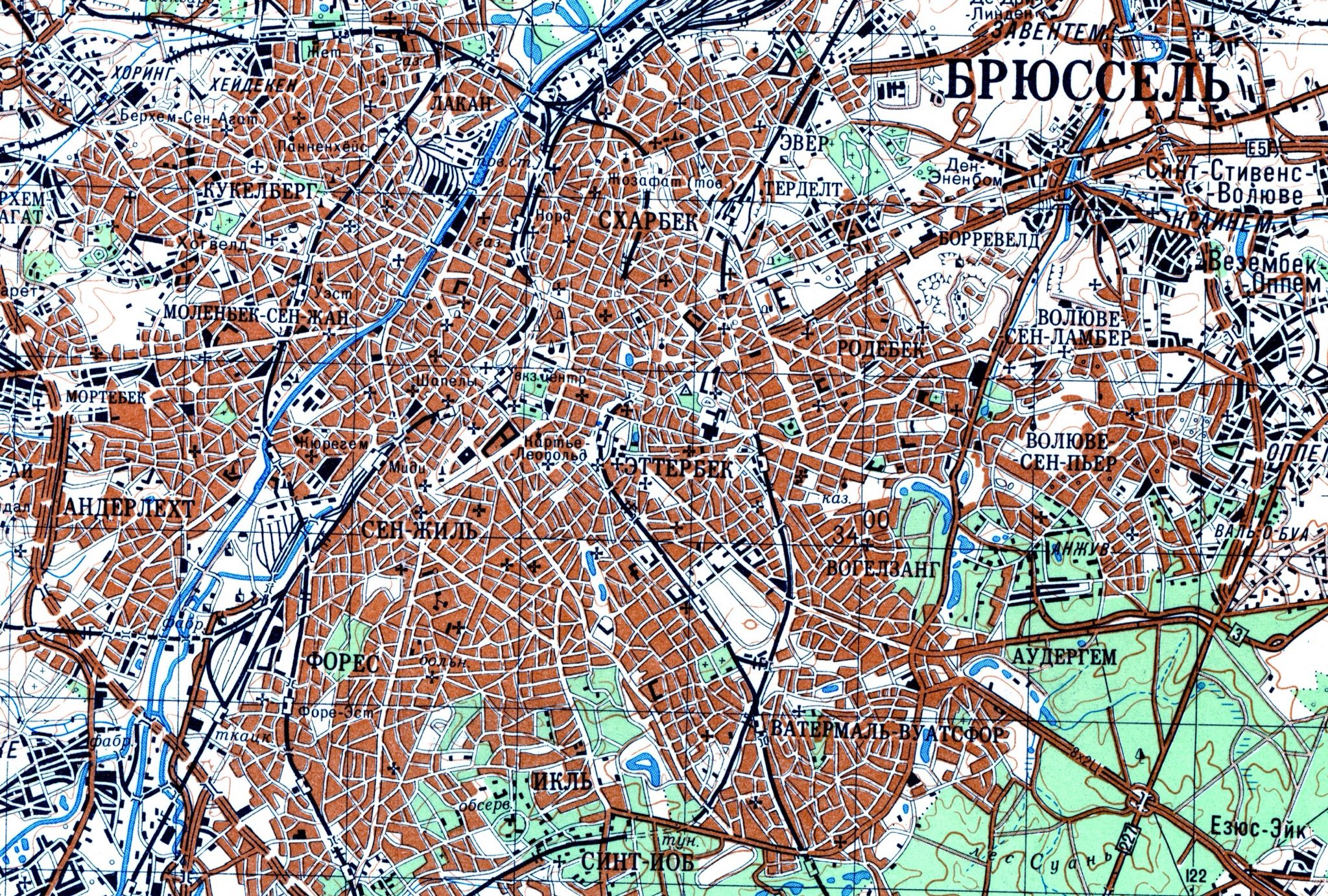 Brussel Bruxelles map USSRURSS 19761978 Brussels a large and