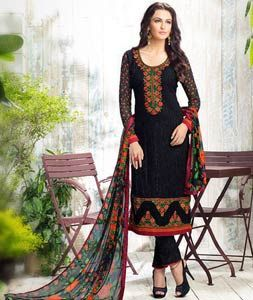 Buy Black Georgette Straight Cut Suit 74307 online at lowest price from huge…