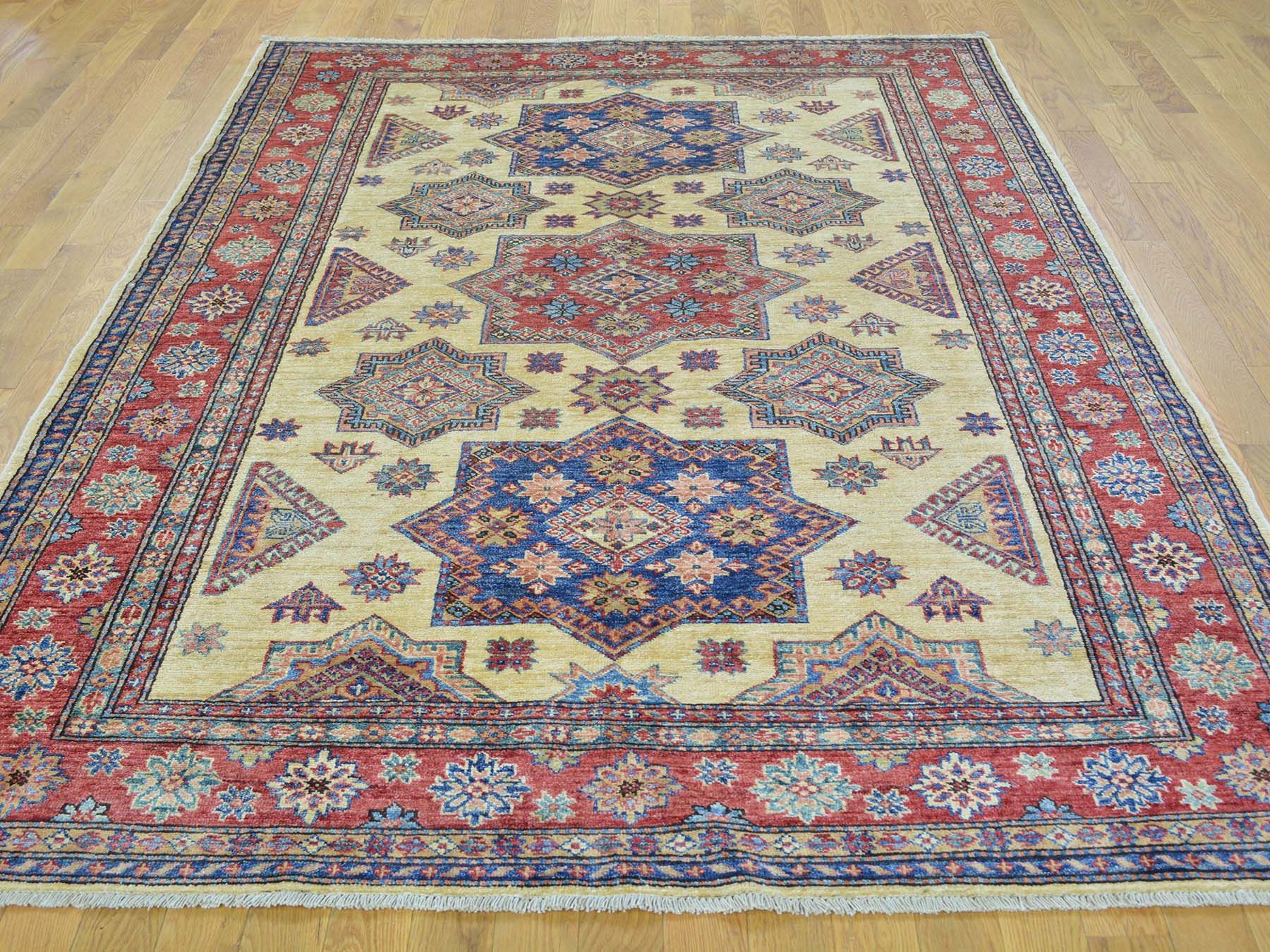 "Buy 5'8""x8' Geometric Design Super Kazak 100 Percent Wool Hand Knotted Rug  #homedecor #decor #woolrug #rugrestoration #rugpadding #orientalrugs #interior"