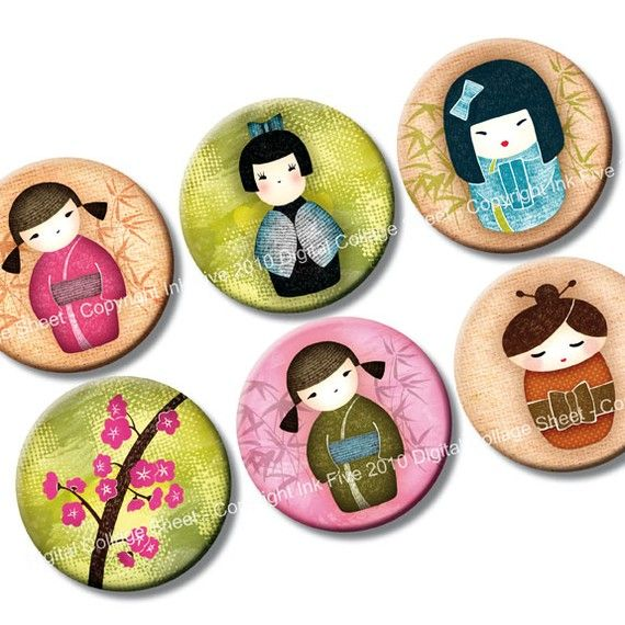 Kokeshi Dolls 1 inch bottle cap circles images by InkFive on Etsy, $4.20