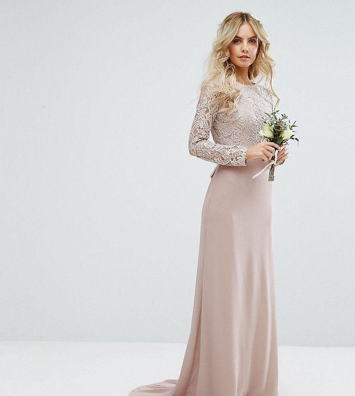 Werbung* TFNC Petite – Langes Hochzeitskleid aus Spitze mit Schleife ...