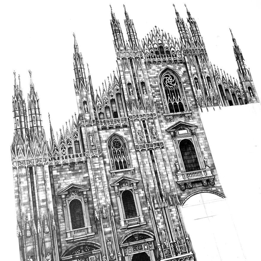 Pencil Drawing Architectural Of Famous European Building