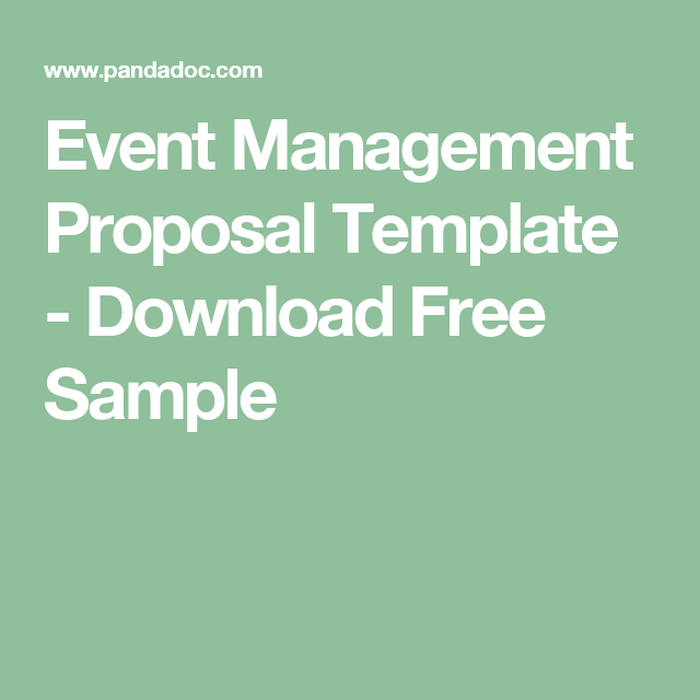 Event Management Proposal Template  Download Free Sample