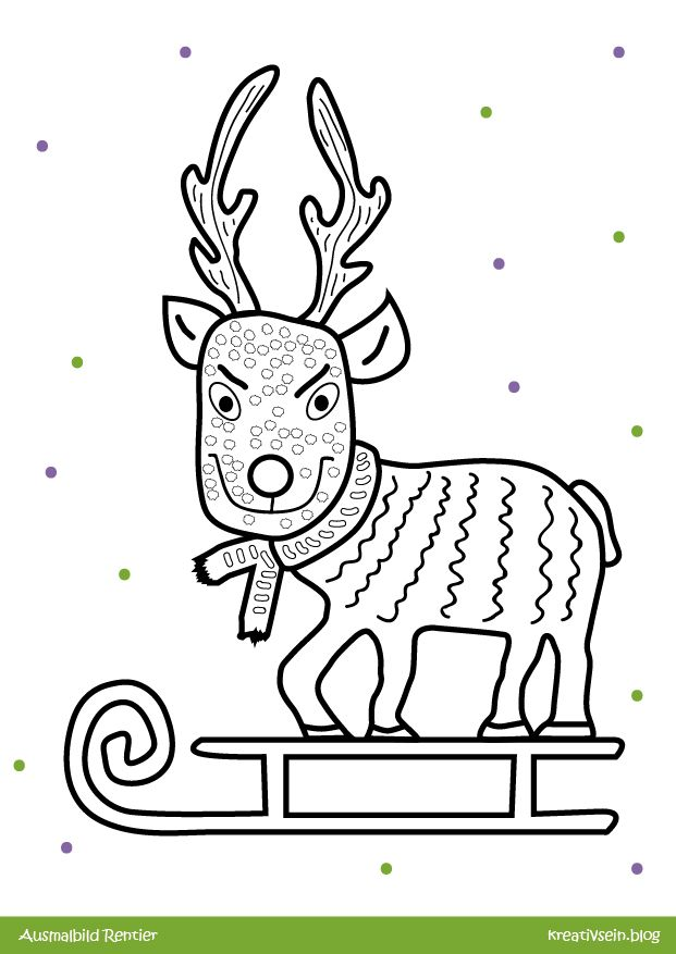 cooles rentier malen zu weihnachten mit ausmalbild