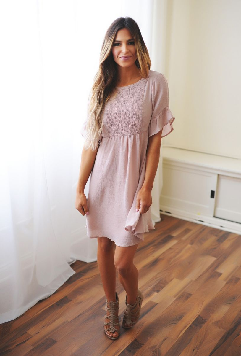 36be7ae9aaf Blush Smocked Front Dress - Dottie Couture Boutique