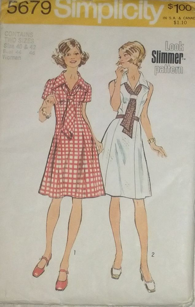 Vintage 70s Dress Pattern w/ Princess Seams and Scarf Sz 40 - 42 Bust 44 - 46