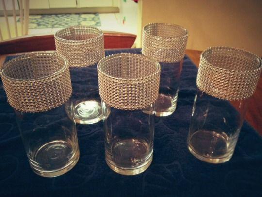 Diy Rhinestone Trim Vases 40th Birthday Pinterest Crafty