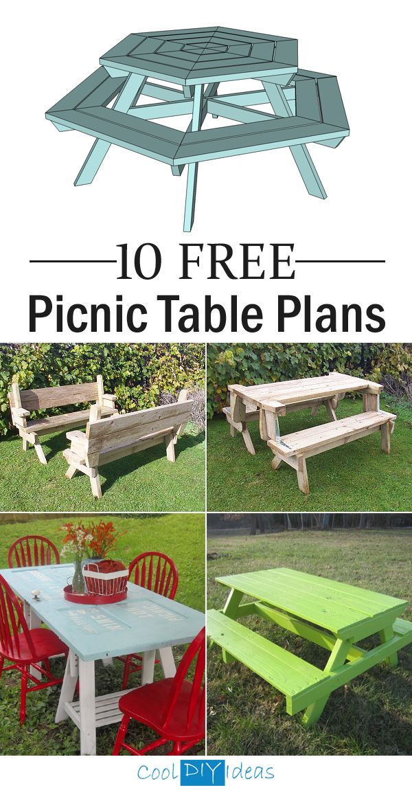 10 FREE Picnic Table Plans  Use These Free Picnic Table Plans And Create A  Beautiful Table For Your Backyard, Patio, Or Any Other Place Around Your  Home ...