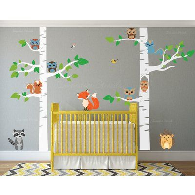Birch Tree with Owl Wall Decal | Wall decals and Nursery