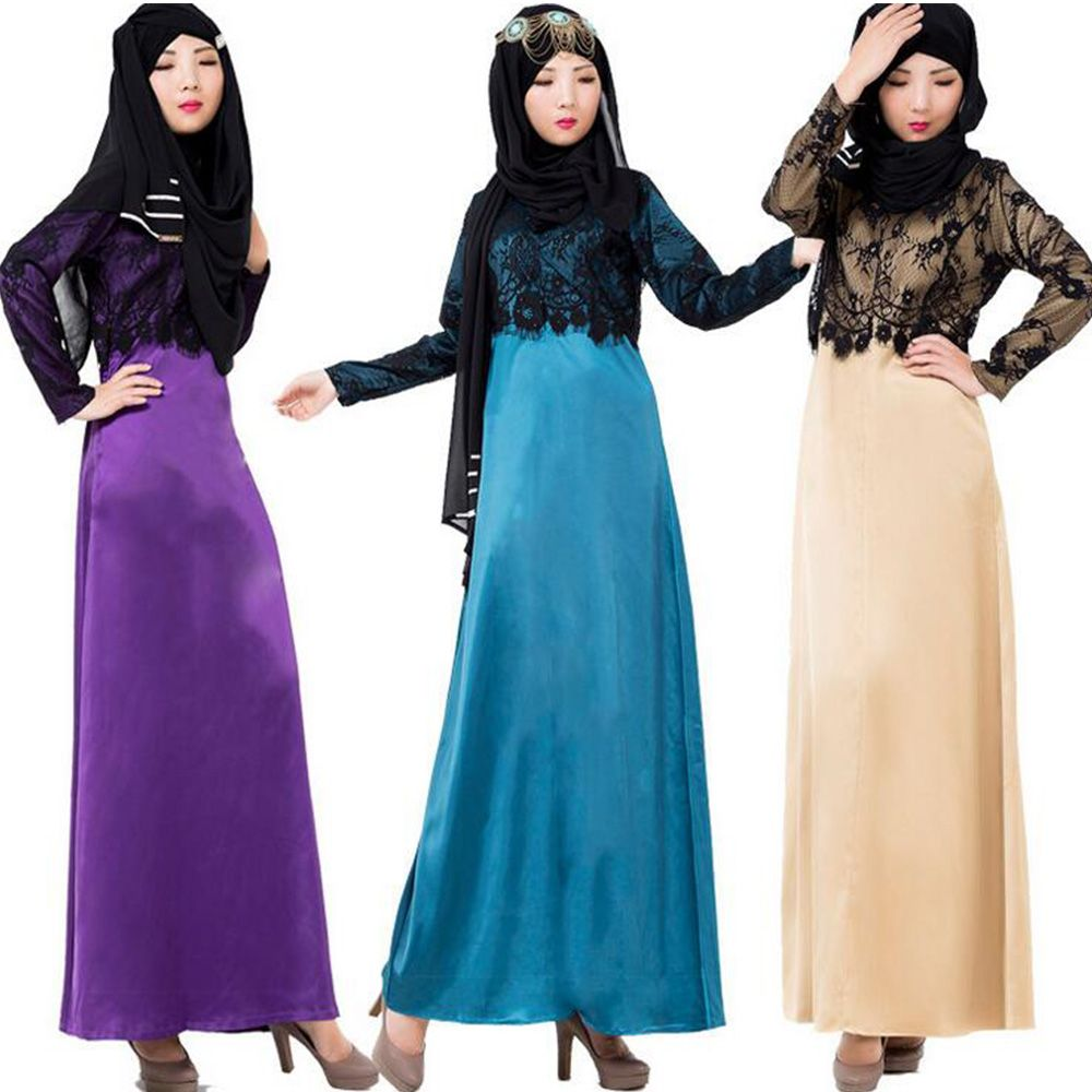 Click to Buy << Muslim New Long-sleeved Lace Splicing Muslim Middle ...