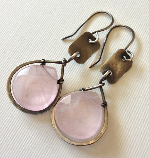 Gorgeous rose quartz earrings in silver by anikojewelry on Etsy, $34.00