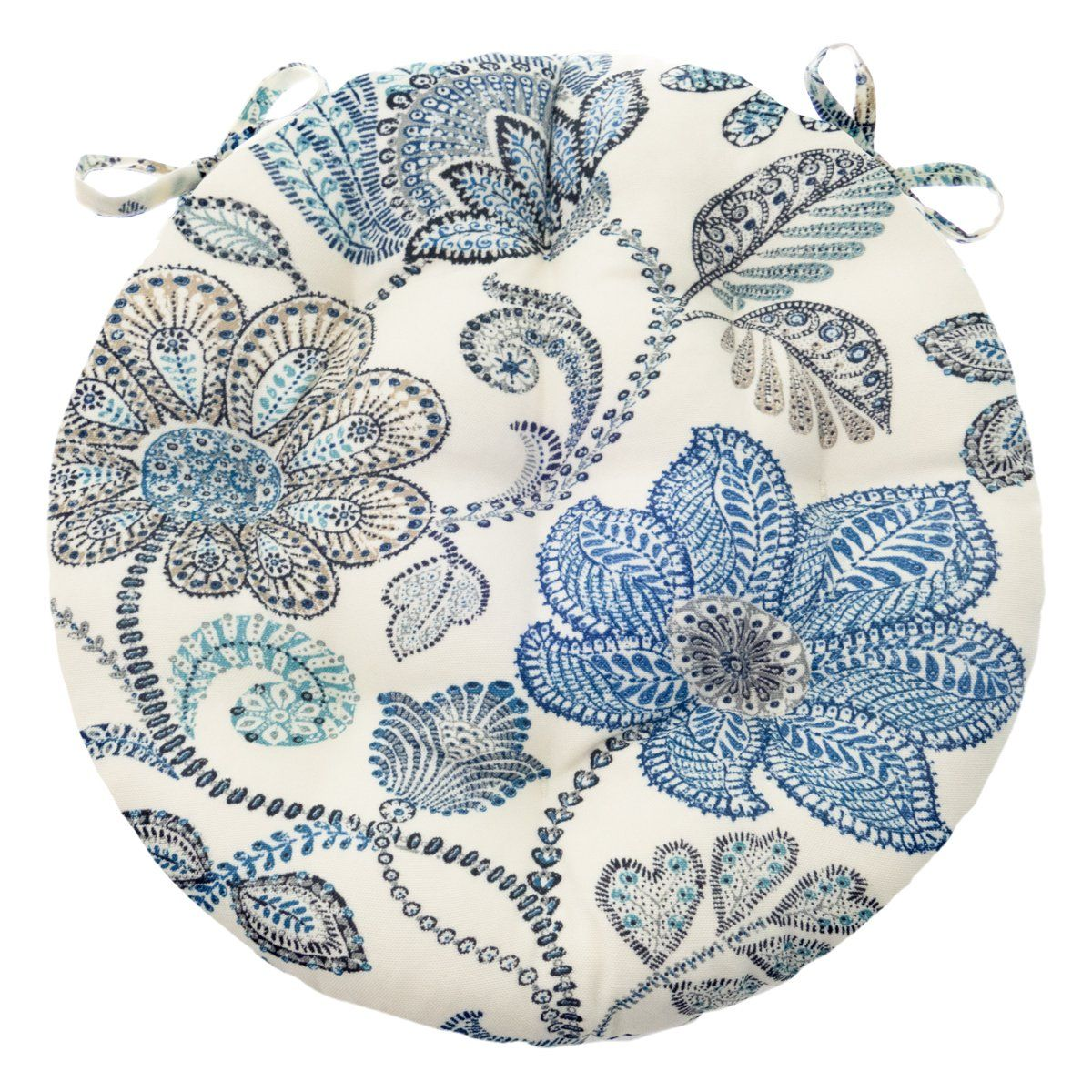 Boutique Floral Blue Bistro Chair Pad 16 Round Chair Cushions Outdoor Dining Chair Cushions Blue Bistro Chairs
